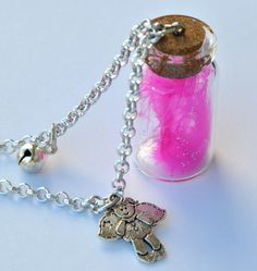 Necklace Angelo Custode friendship with pink feather in a glass bottle and glitter di Minervastyle su Etsy