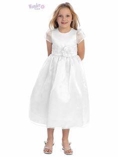 4bdd6c457b8 White Satin Bodice Dress w  Organza Cap Sleeves   Skirt. Holy Communion ...
