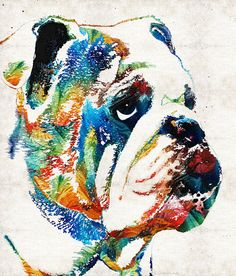 Colorful bulldog animal art PRINT by Sharon Cummings. Rich colors in this unique art piece. Luxurious PRINT for any decor!  ***SPECIAL PRICE....Regular Price 155.00. Title: How Bout A Kiss  Artist: Sharon Cummings  Size: 16x20x1.5 Mount: Gallery Wrapped Canvas. Wired And Ready To Hang. Production: Once I receive your purchase notification through Etsy, I will immediately put in an order for your beautiful new print through my licensing partner. Please allow 7 - 10 days for the print to be…