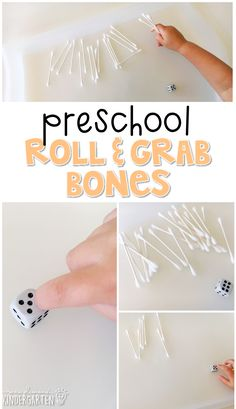 This roll and grab bones activity is a super fun way to practice number identification, counting, and fine motor skills with a human body theme. Great for tot school, preschool, or even kindergarten!