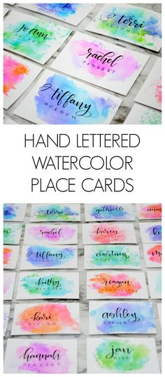 Hand Lettered Watercolor Place Cards