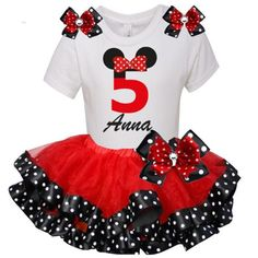 MINNIE Mouse 5th Birthday Party Outfit Tutu Set