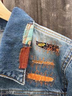 would look great with everything! from a jeans and a T shirt or on top of more fancier tight dress or wide skirt. Patched Denim, Denim Jacket Patches, Denim Jackets, Jean Jackets, Recycled Denim, Sustainable Clothing, Woman Clothing, Distressed Denim, Couture