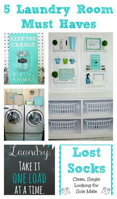 5 Laundry Room Must Haves Small Bedroom Organization, Clutter Organization, Home Organization Hacks, Organizing Tips, Laundry Room Quotes, College School Supplies, Laundry Hacks, Room Planning, Basement Remodeling