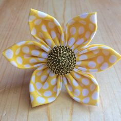 Sunflower yellow and white polka dot Flower by LotsofSpotsBoutique