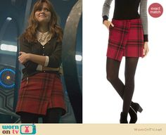 Clara's red plaid wrap skirt on the Doctor Who Christmas Special. Outfit Details: http://wornontv.net/24552 #DoctorWho #fashion