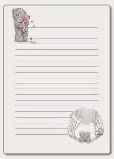 Tatty Teddy, Free Printable Stationery, Printable Paper, Envelopes, Disney Frames, Das Abc, Disney Planner, Lined Writing Paper, Teddy Bear Pictures