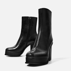 LEATHER ANKLE BOOTS WITH LINED PLATFORM-Collection-COMIC MEETS DENIM 2-WOMAN | ZARA Canada