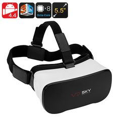 Android 3D Enabled Virtual Reality Glasses – 5.5 Inch FHD Display, 1080p, Octa-Core CPU, Google Play, Micro SD Slot, Wi-Fi