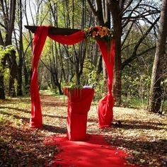Ceremony, forest ceremony, red wedding decor