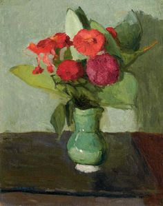 poboh:   Albert Marquet (French, 1875-1947), Bouquet de fleurs au vase vert. Oil on canvas, 41 x 32 cm.