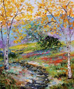 Original Sunlit Autumn Stream palette knife painting  by Karensfineart