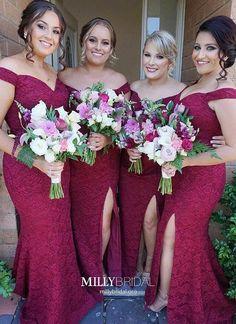 Gorgeous Off-the-Shoulder Bridesmaid Dress 2019 Mermaid Lace Maid of Honor Dress Item Code: Mermaid Bridesmaid Dresses, Lace Bridesmaid Dresses, Cheap Prom Dresses, Mermaid Dresses, Wedding Party Dresses, Simple Dresses, Homecoming Dresses, Burgundy Bridesmaid, Burgundy Wedding