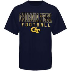 Georgia Tech Yellow Jackets Frame Football T-Shirt - Navy Blue