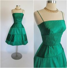 1950's Vintage Emerald Green Silk Satin and by RubyFayesVintage, $155.00. A 23 inch waist on this dress. Sheesh a very lucky lady to get into this!