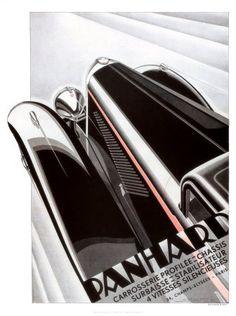 Panhard Auto Vintage Poster, 1920's. Jazz Age + Zippertravel