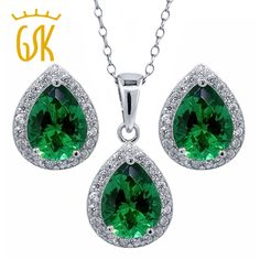 Find More Jewelry Sets Information about GemStoneKing 6.50 Ct Pear Shape Green Nano Emerald Pendant Earrings 925 Sterling Silver Wedding Jewelry Sets for Brides,High Quality set blush,China earring necklace set Suppliers, Cheap earring clip from Gemstoneking Since 1903 on Aliexpress.com