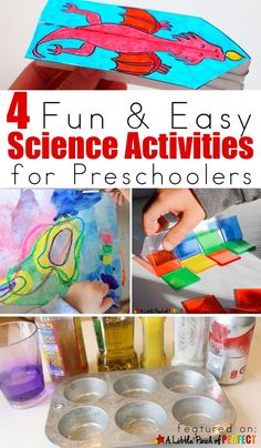 4 Fun and Easy Science Activities for Preschoolers: Learn about lights, wind, water, and corrosion Science Experiments For Preschoolers, Preschool Science Activities, Cool Science Experiments, Science For Kids, Science Projects, Stem Science, Science Ideas, Preschool Projects, Preschool Themes