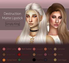 Destruction Matte Lipstick at Simply King via Sims 4 Updates