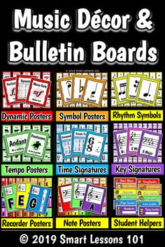 Music Bulletin Boards: Music Posters: Flashcards Back to School Music Deco Music Theory For Beginners, Basic Music Theory, Music Lesson Plans, Music Lessons, Music Activities, Music Games, Elementary Music, Elementary Education, Music Bulletin Boards