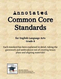 Grade 8 Common Core Standards, simplified and explained