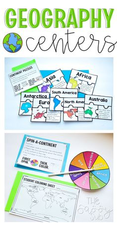 Geography centers: 6 total covering continents, oceans and landforms PERFECT for Social Studies 2nd, 3rd, 4th grade independent practice, small groups