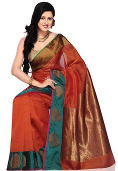 Dark Orange Shot Tone Pure Banarasi Silk Handloom Saree with Blouse: SAVA6