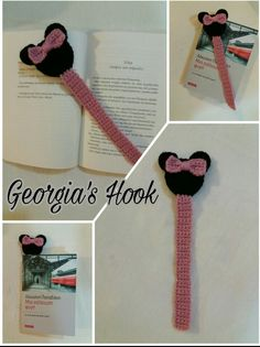 Minnie Mouse Bookmark Crochet Bookmarks, Mickey Mouse, Crochet Necklace, Crochet Collar, Michey Mouse