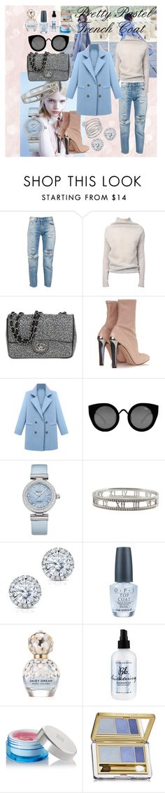 """Pretty Pastel Trench Coats Contest"" by juliamella on Polyvore featuring Levi's, Rick Owens, Chanel, Alexander McQueen, Quay, OMEGA, Tiffany & Co., Kobelli, OPI and Marc Jacobs"