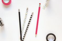 diy washi tape pencil craft -this would make back to school more fun!