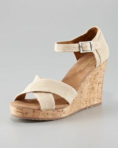 Cork Wedge Sandal by TOMS at Neiman Marcus. Look so comfy.