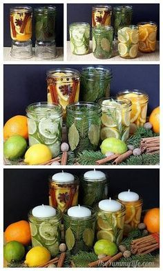 who doesn't like smell good candles! DIY Natural Room Scents for Your Home and for Gifting by theyummylife Room Scents, Deco Nature, Creation Deco, Ideias Diy, Jar Gifts, Gift Jars, Candy Gifts, Food Gifts, Diy Candles