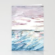 Sailboat at Sunset Stationery Cards by Birds And Berry Studio Anne Hockenberry. Worldwide shipping available at Society6.com. Just one of millions of high quality products available.