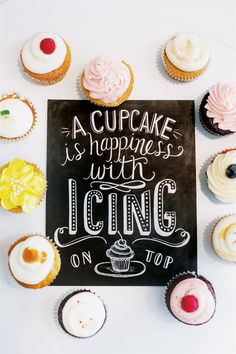 Bakery Print - A Cupcake Is Happiness With Icing On Top - Kitchen Art - Chalkboard Print - Cupcake Art - Brill. Cupcake Kunst, Cupcake Art, Cupcake Cakes, Mini Cakes, Love Cupcakes, Yummy Cupcakes, Cupcake Quotes, Lily And Val, Baking Quotes