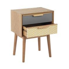 Table de chevet avec tiroirs vintage en bois L 42 cm