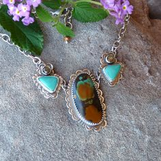 Turquoise and Golden Moonstone Stamped Sterling Silver Statement Necklace