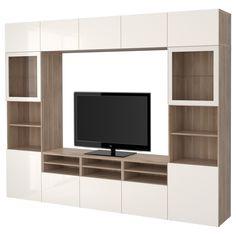 "BESTÅ TV storage combination/glass doors - walnut effect light gray/Selsviken high-gloss/white frosted glass, drawer runner, soft-closing - IKEA Width: 118 "" Depth: 15 "" Height: 90 "" Max. Tv Wand, Rack Tv, Kallax Shelf, Muebles Living, Tv Storage, Extra Storage, Firewood Storage, Record Storage, Smart Storage"