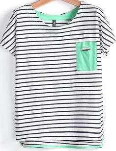 Black White Striped Pocket Dipped Hem T-Shirt pictures