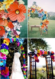 "Add #paper #flowers to your ceremony arch for a pop of color. These ""blooms"" are also #budget-friendly!"