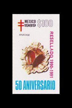 Sello: Minerales. Pais: México. Año: 1989 - 50 aniversario. Valor 100 pesos mexicanos (1 peso mexicano = 0,0452 €). Descripción: ANATASE.
