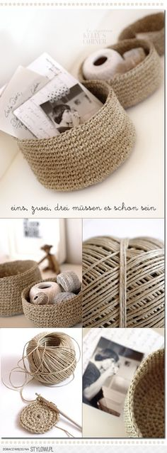 knit and crochet / Crocheted storage bowls from packing… na Stylowi.pl
