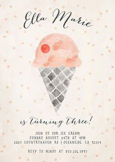 Ice Cream Birthday Party Invitation by KelliMurrayArt on Etsy