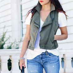 Isn't any surprise to you guys that I bought this olive green moto vest?! #predictable #ilikewhatilike http://liketk.it/2oD9g @liketoknow.it #liketkit