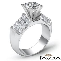 Princess Diamond Invisible Set Heavy Engagement Ring EGL F SI1 Platinum 2 2 Ct | eBay