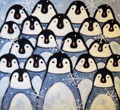 Penguin Mini Canvas with Easel -  Hand Painted Folk Art Holiday Christmas Gift Housewarming Gift Cute Penguins Huddled Together Desktop Art