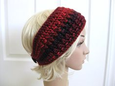 Crocheted HeadbandEarwarmerRed with Wood Buttons  by RoseJasmine, $16.00