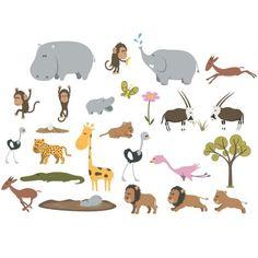 Sticker Bébé : petite frise de 25 Stickers Savane