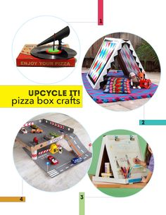 4 creative ways to upcycle a pizza box! Turn pizza boxes into a tent for stuffed animals, a record player, a toy garage, or an art easel.