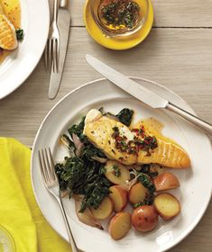 Halibut With Spicy Lemon-Thyme Vinaigrette Recipe from realsimple.com #MyPlate #protein #veggies
