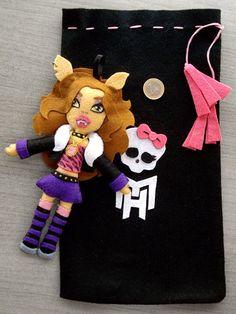 Muñeca fieltro.  Monster High. Clawd Wolf http://anikasarts.blogspot.com.es/